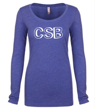 Load image into Gallery viewer, blue CSB long sleeve scoop shirt for women