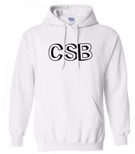 white CSB hooded sweatshirt for women