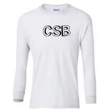 Load image into Gallery viewer, white CSB youth long sleeve t shirt for boys