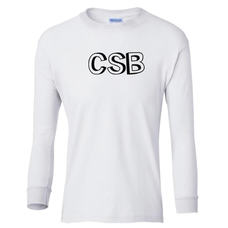 white CSB youth long sleeve t shirt for boys