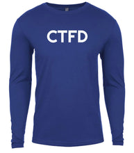 Load image into Gallery viewer, blue ctfd mens long sleeve shirt