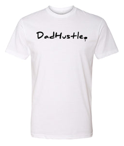 white dad hustle crewneck t shirt