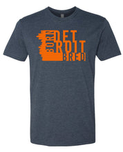 Load image into Gallery viewer, navy Detroit born and bred t-shirt