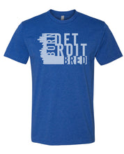 Load image into Gallery viewer, blue Detroit born and bred t-shirt