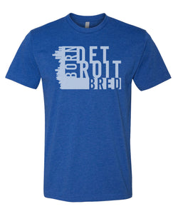 blue Detroit born and bred t-shirt