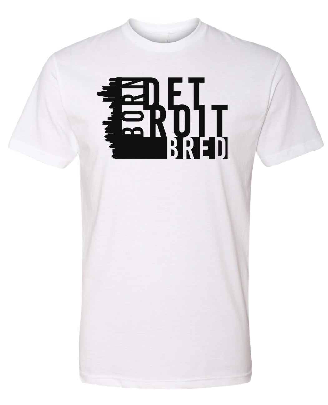 white Detroit born and bred t-shirt