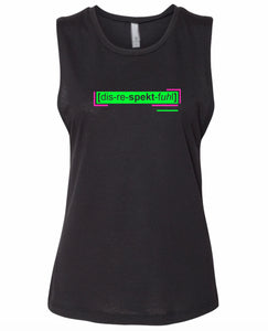 florescent green disrespectful neon streetwear tank top for women