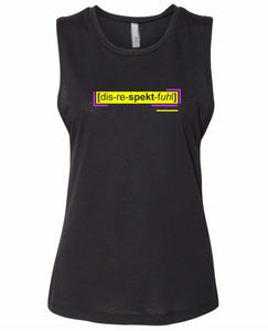 florescent yellow disrespectful neon streetwear tank top for women