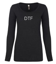 Load image into Gallery viewer, black DTF long sleeve scoop shirt for women