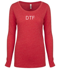 Load image into Gallery viewer, red DTF long sleeve scoop shirt for women