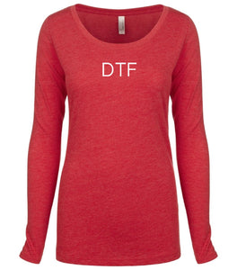 red DTF long sleeve scoop shirt for women
