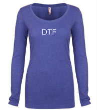 Load image into Gallery viewer, blue DTF long sleeve scoop shirt for women