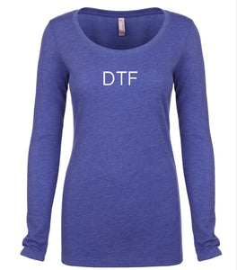 blue DTF long sleeve scoop shirt for women