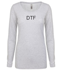 white DTF long sleeve scoop shirt for women