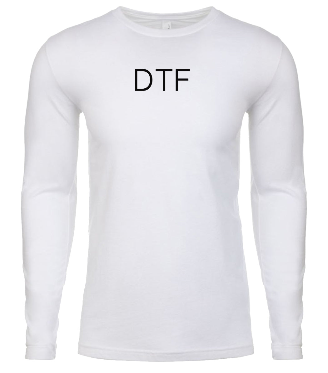 white dtf mens long sleeve shirt