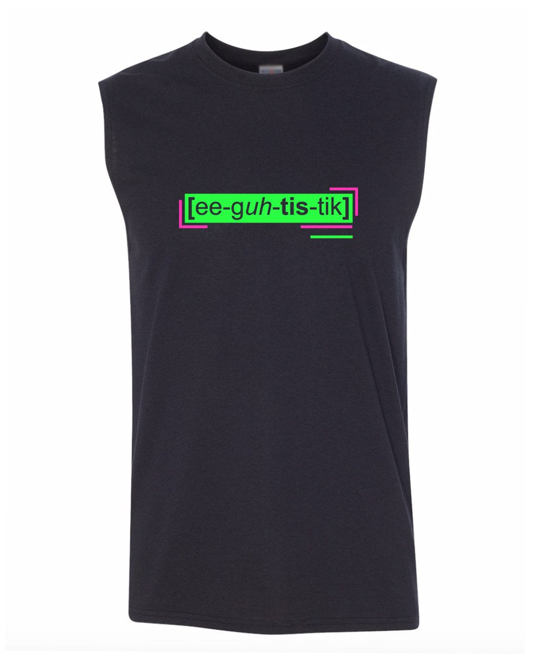 florescent green egotistic men's sleeveless tee tank top