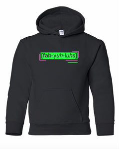 florescent green fabulous youth kids neon streetwear hooded sweatshirt