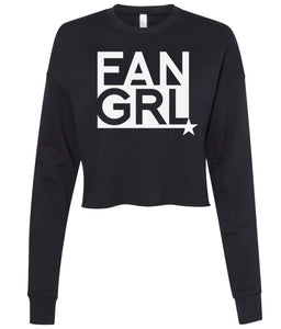 black fan girl cropped sweatshirt