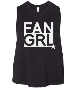 black fan girl cropped tank top