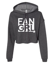 Load image into Gallery viewer, charcoal fan girl cropped hoodie