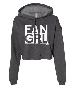 charcoal fan girl cropped hoodie