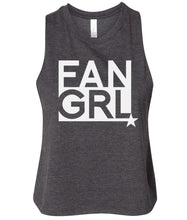 Load image into Gallery viewer, charcoal fan girl cropped tank top