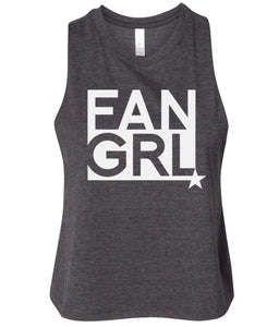 charcoal fan girl cropped tank top