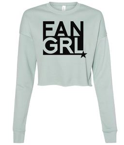 dusty blue fan girl cropped sweatshirt
