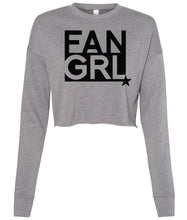 Load image into Gallery viewer, grey fan girl cropped sweatshirt
