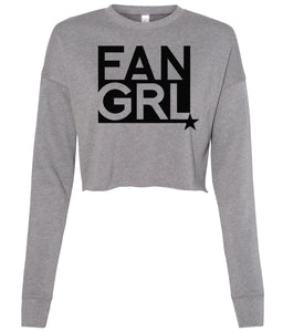 grey fan girl cropped sweatshirt