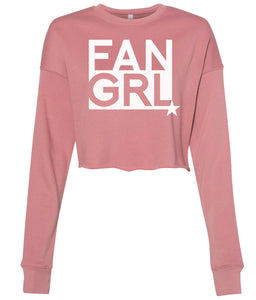 mauve fan girl cropped sweatshirt
