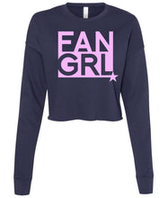 Load image into Gallery viewer, navy fan girl cropped sweatshirt