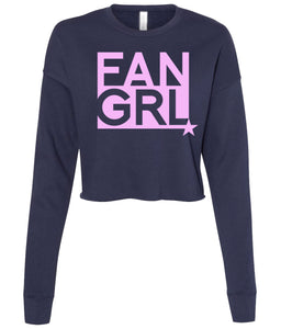 navy fan girl cropped sweatshirt