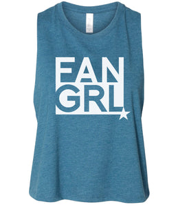 teal fan girl cropped tank top