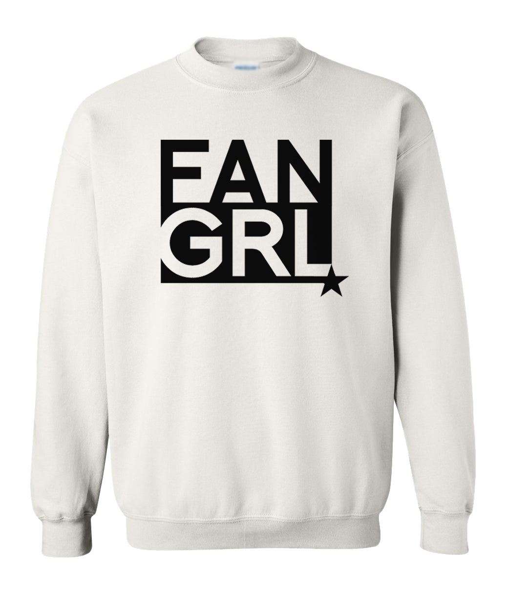 white fan girl sweatshirt