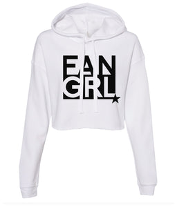 white fan girl cropped hoodie