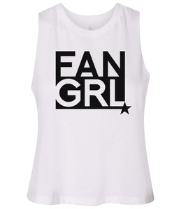 white fan girl cropped tank top