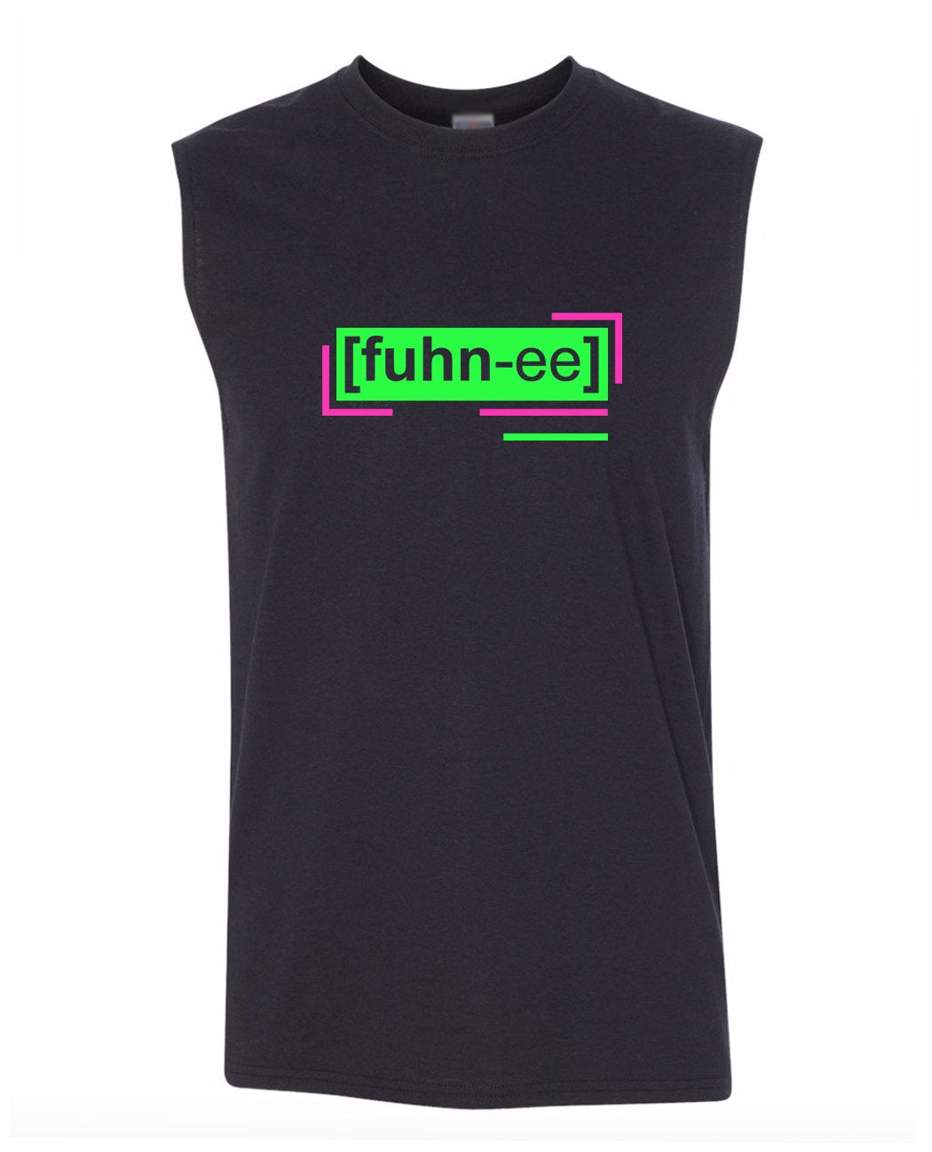 florescent green funny men's sleeveless tee tank top