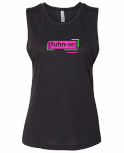 florescent pink funny neon streetwear tank top for women
