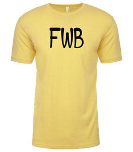 yellow fwb mens crewneck t shirt