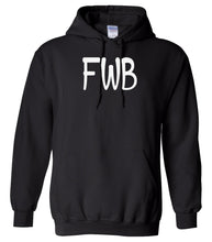 Load image into Gallery viewer, black FWB hooded sweatshirt for women