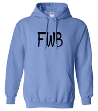 Load image into Gallery viewer, blue FWB hooded sweatshirt for women