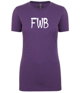 purple fwb womens crewneck t shirt