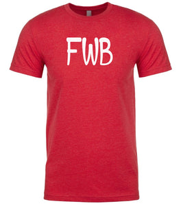 red fwb mens crewneck t shirt