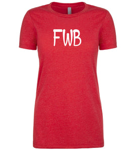 red fwb womens crewneck t shirt