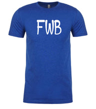 Load image into Gallery viewer, blue fwb mens crewneck t shirt