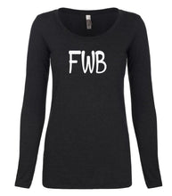 Load image into Gallery viewer, black FWB long sleeve scoop shirt for women