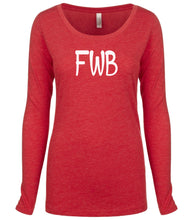 Load image into Gallery viewer, red FWB long sleeve scoop shirt for women