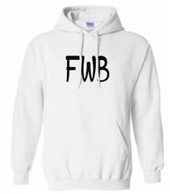 Load image into Gallery viewer, white FWB hooded sweatshirt for women