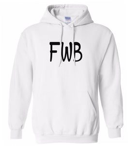 white FWB hooded sweatshirt for women